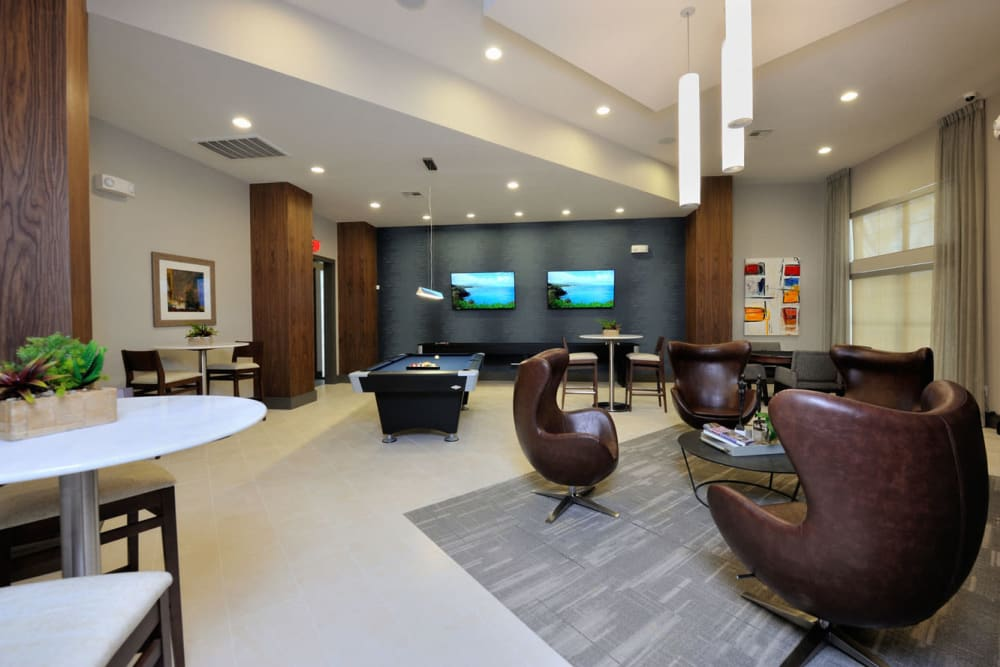 Clubhouse rec room at Olympus Falcon Landing in Katy, Texas