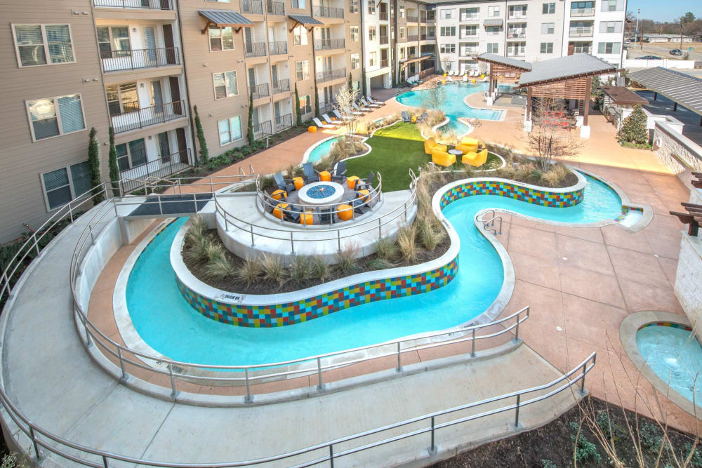 Resort style lazy river out by the pool at Mercantile River District in Fort Worth, Texas
