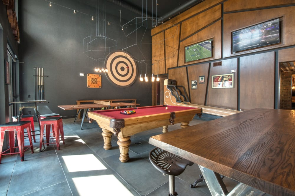 Pool table in the resident clubhouse at Mercantile River District in Fort Worth, Texas
