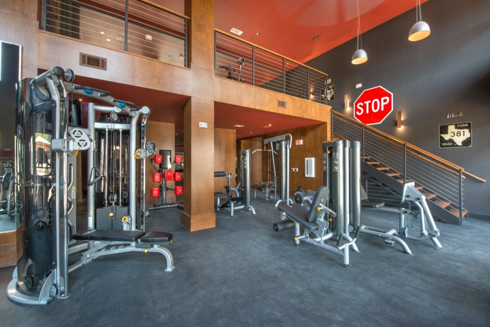 Full sized fitness center to workout in at Mercantile River District in Fort Worth, Texas