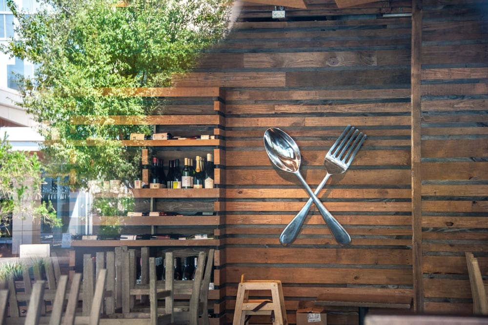 Rustic style wall in a restaurant near Mercantile River District in Fort Worth, Texas