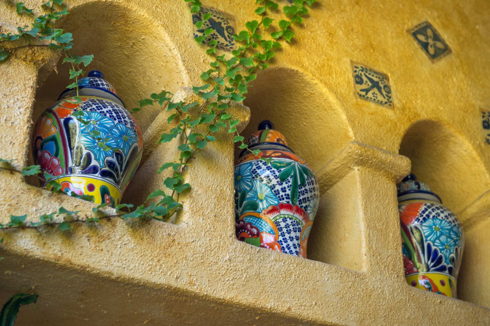 Very cool vases up on the wall with vines growing around them near Mercantile River District in Fort Worth, Texas