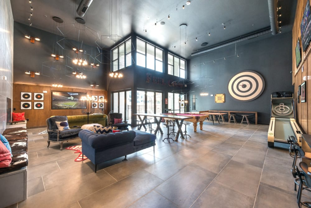 Huge clubhouse for residents to hang out in at Mercantile River District in Fort Worth, Texas