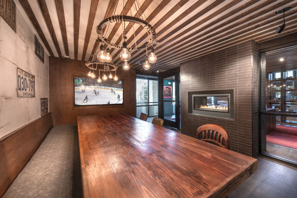 Giant table in the resident conference room at Mercantile River District in Fort Worth, Texas