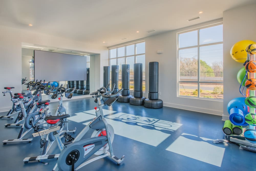 Amazing fitness center for residents to workout in at Blu at Northline Apartments in Charlotte, North Carolina