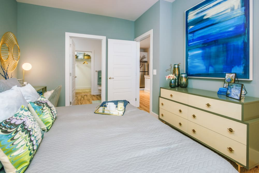 Large, well lit bedroom with carpeted floors at Blu at Northline Apartments in Charlotte, North Carolina