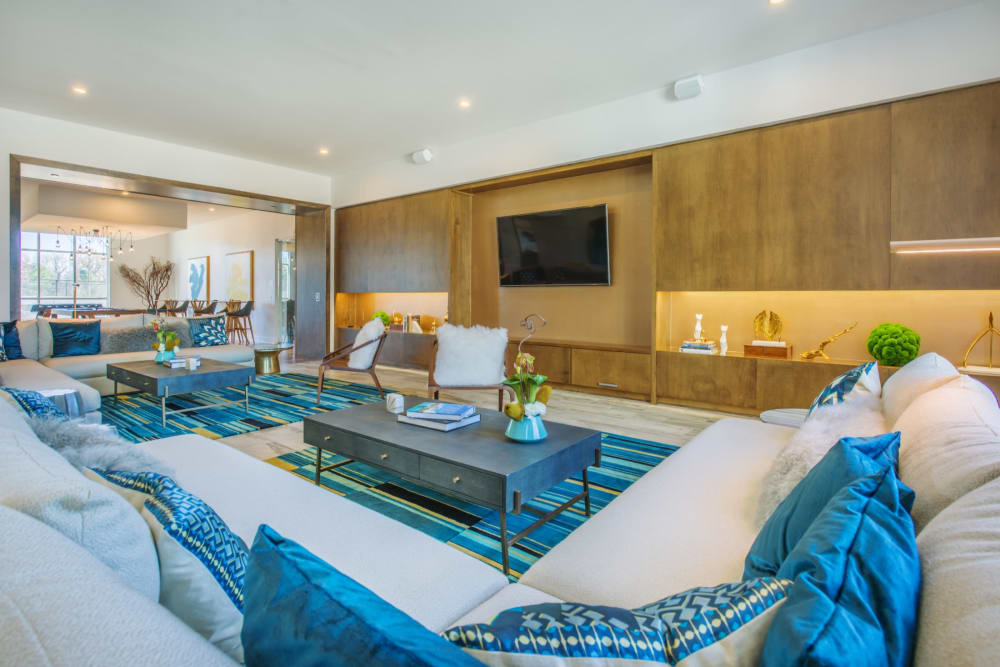 Big lounge area in the clubhouse where you can kick back and relax at Blu at Northline Apartments in Charlotte, North Carolina