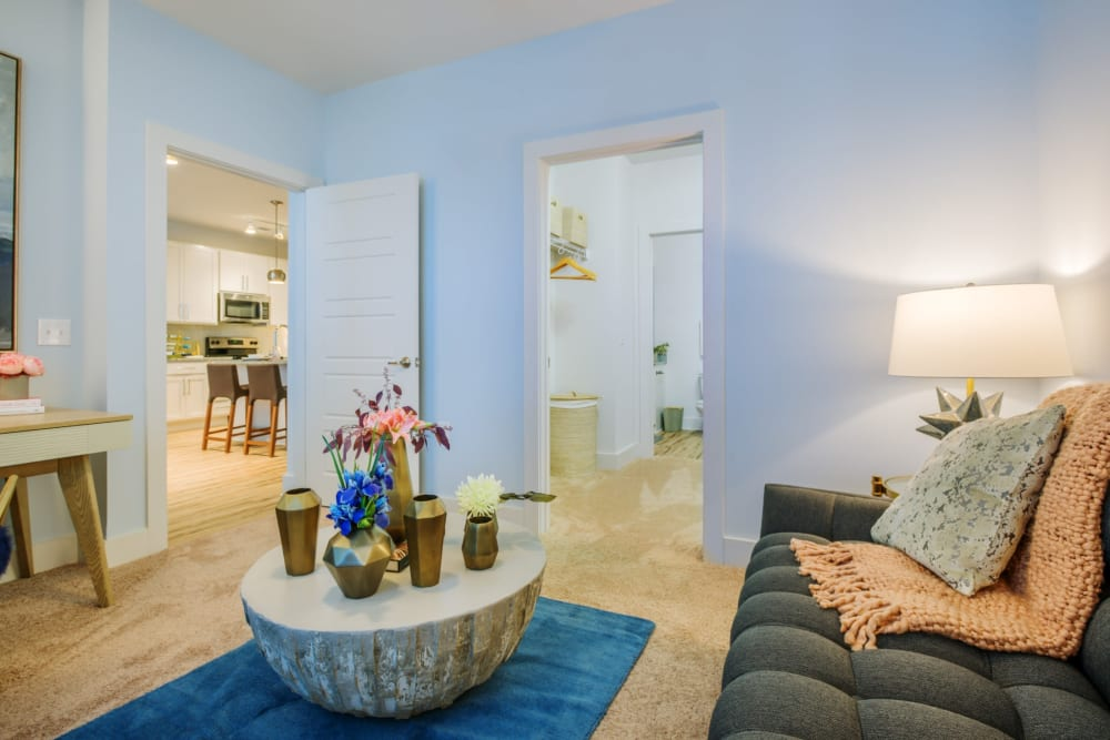 Cozy living room area with in a cute modern decorated home at Blu at Northline Apartments in Charlotte, North Carolina
