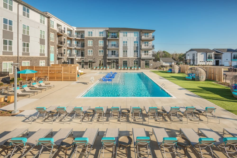 An ample amount of lounge chairs out by the pool at Blu at Northline Apartments in Charlotte, North Carolina