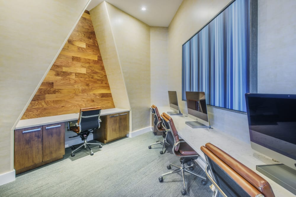 Office area where residents can get their work done at Blu at Northline Apartments in Charlotte, North Carolina