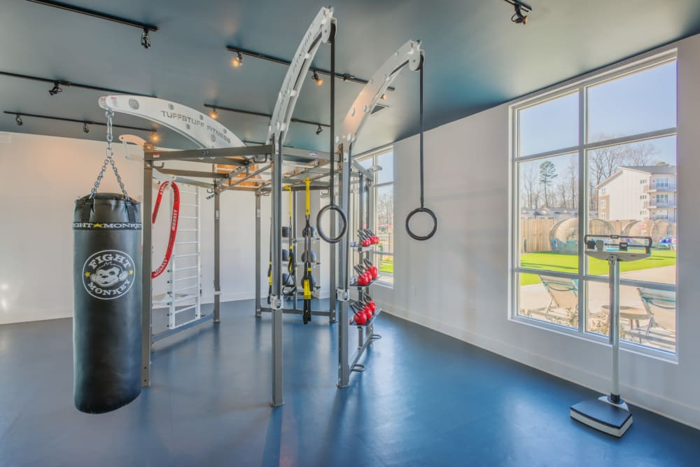 Functional fitness area at the resident gym at Blu at Northline Apartments in Charlotte, North Carolina