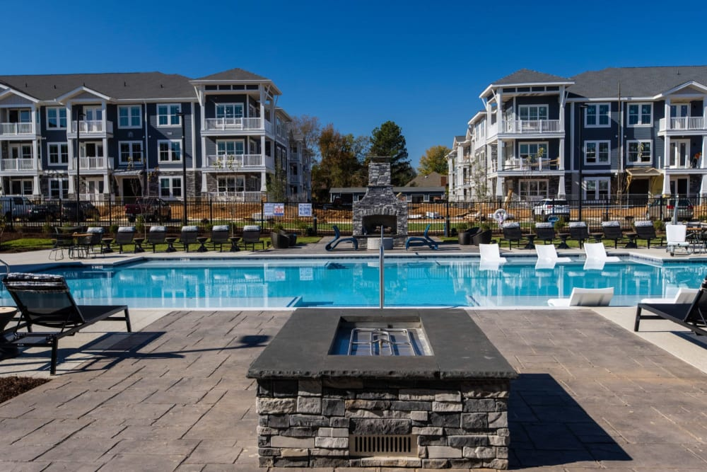 Pool area with a nice firepit to sit around when its cold at Parc at Murfreesboro in Murfreesboro, Tennessee