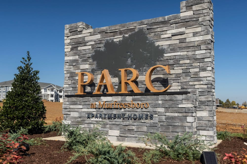 Exterior welcoming sign at Parc at Murfreesboro in Murfreesboro, Tennessee