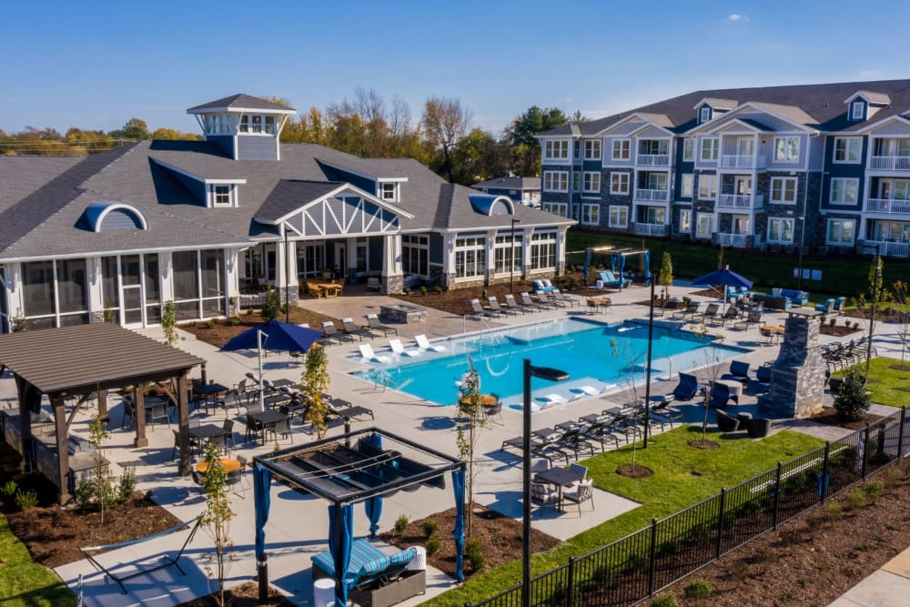 Aerial view of the clubhouse and pool area at Parc at Murfreesboro in Murfreesboro, Tennessee