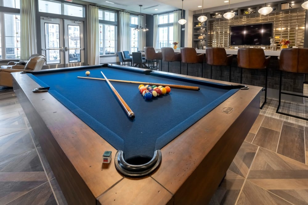 Pool table in the resident clubhouse at Parc at Murfreesboro in Murfreesboro, Tennessee