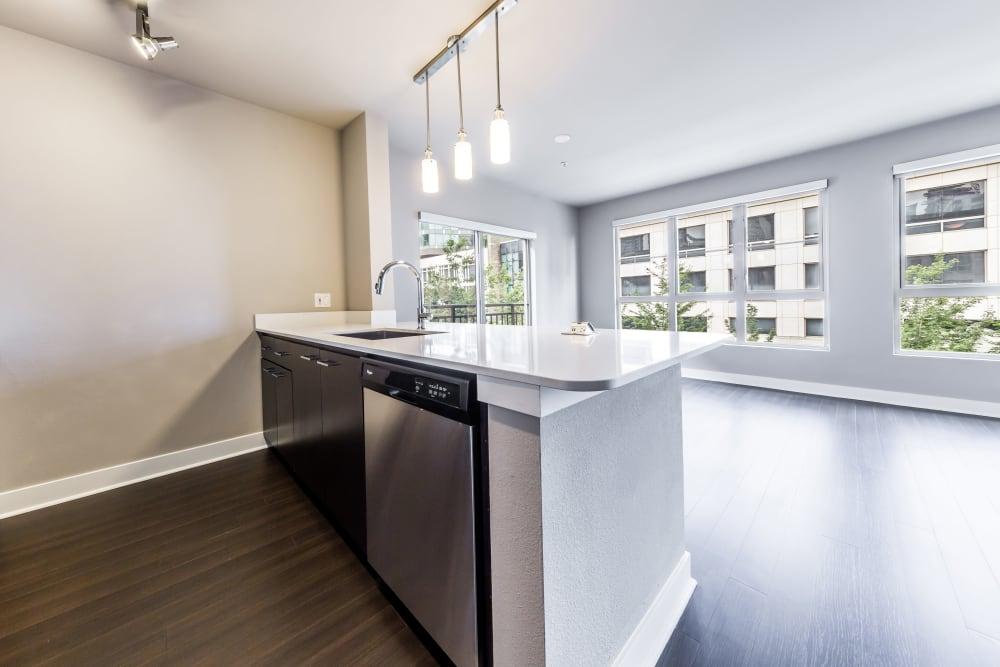 Kitchen island at Marq 211 in Seattle, Washington