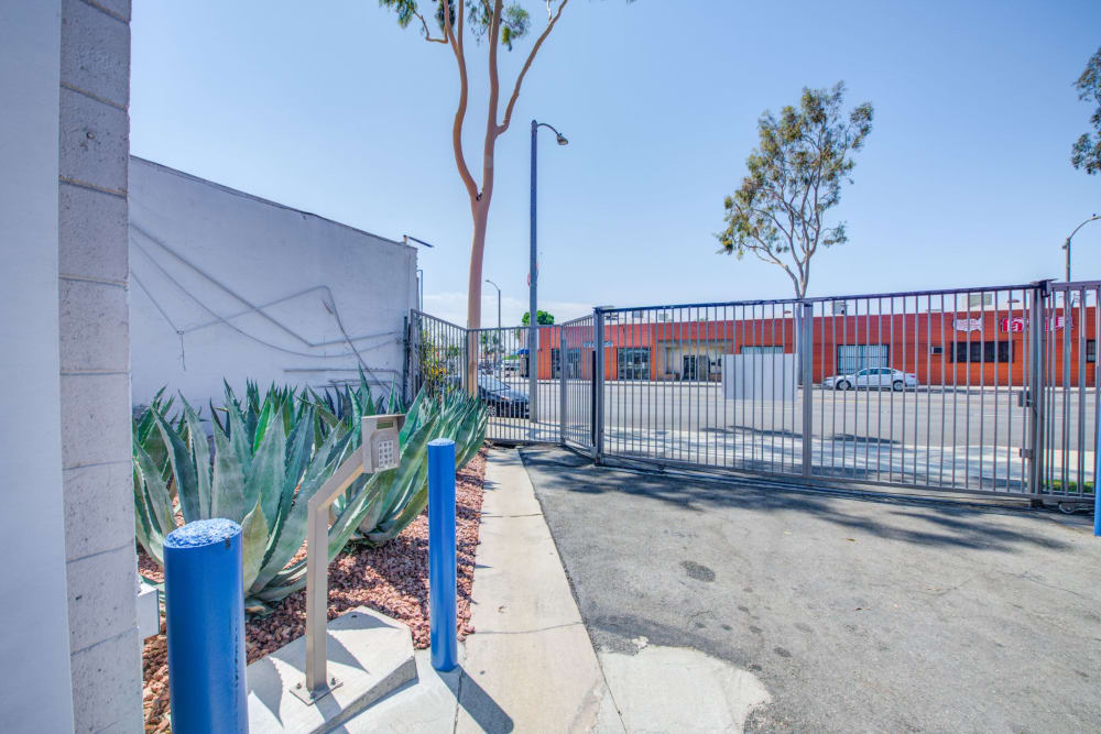 Gated entrance with a keypad at Storage Etc... Rosemead in Rosemead, California