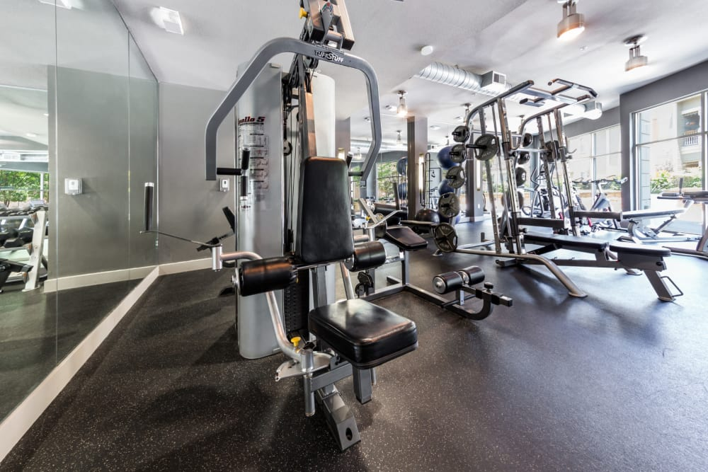 Fully equipped fitness center at The Marquis of State Thomas in Dallas, Texas