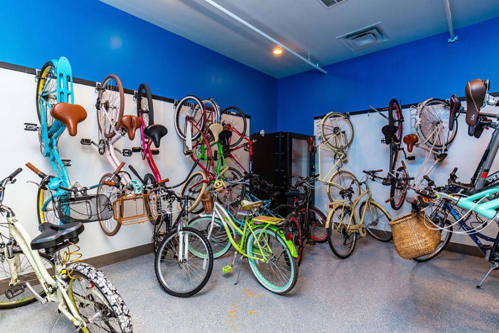 Safe bike storage area onsite at Central Station on Orange in Orlando, Florida