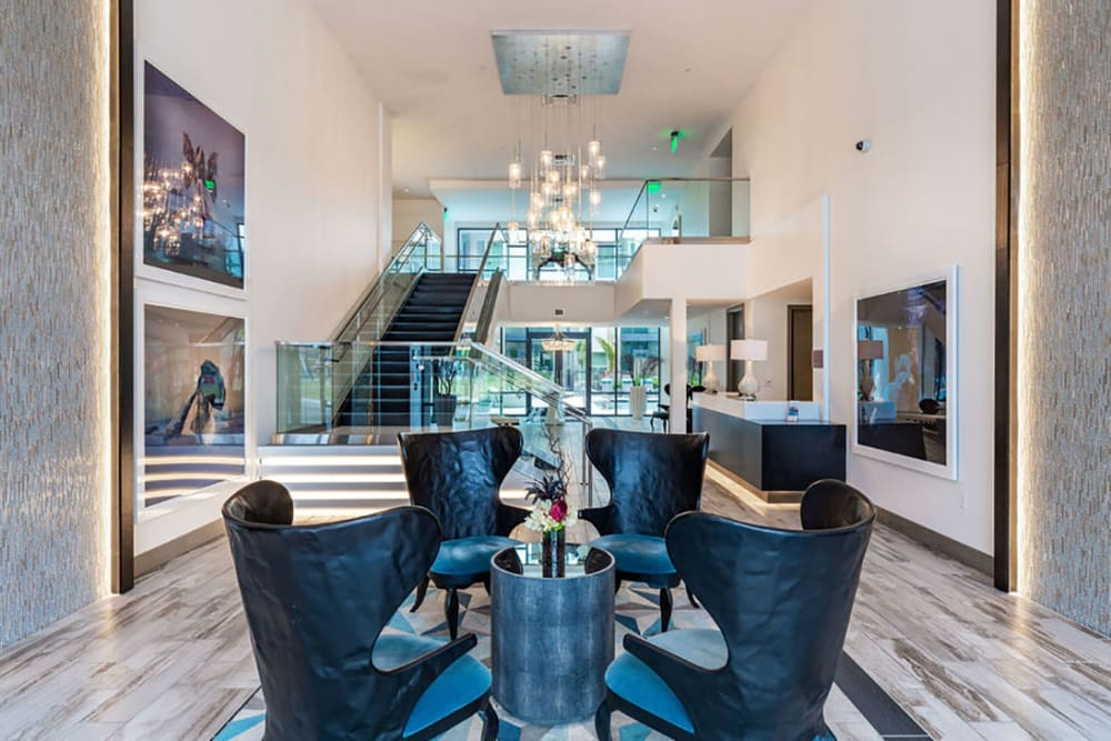 Clubhouse area with cozy chairs to relax in at Central Station on Orange in Orlando, Florida