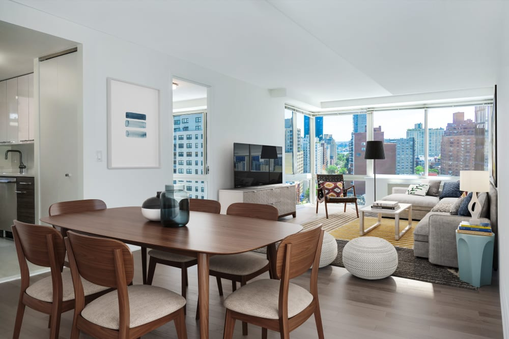 Open concept living and dining area at The Ventura in New York, New York