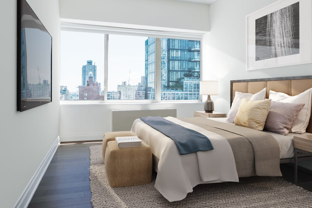 Spacious bedroom with tons of natural light at The Ventura in New York, New York
