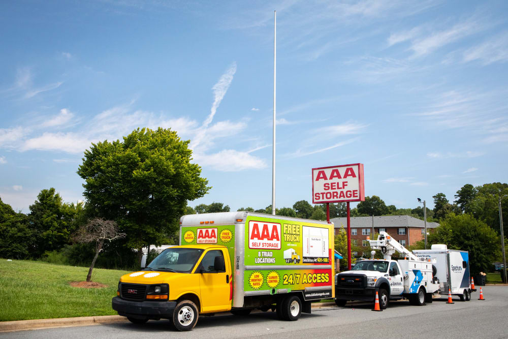 Driveway and moving truck at AAA Self Storage of Thomasville in Thomasville, North Carolina