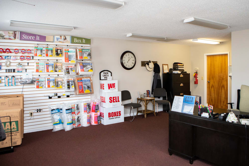Front desk in leasing office in Thomasville, North Carolina at AAA Self Storage of Thomasville