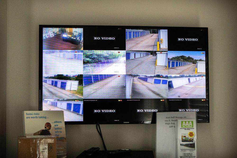 Video surveillance footage in the office at AAA Self Storage of Thomasville in Thomasville, North Carolina