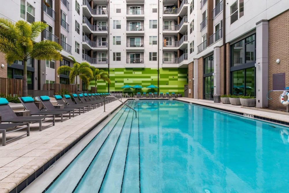 Gorgeous swimming pool surrounded by lounge chairs at Central Station on Orange in Orlando, Florida