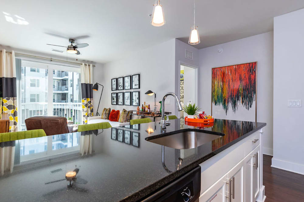 Large kitchen island that goes into the dining area at Central Station on Orange in Orlando, Florida