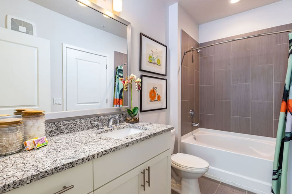 Cute bathroom with a huge mirror and bathtub at Central Station on Orange in Orlando, Florida