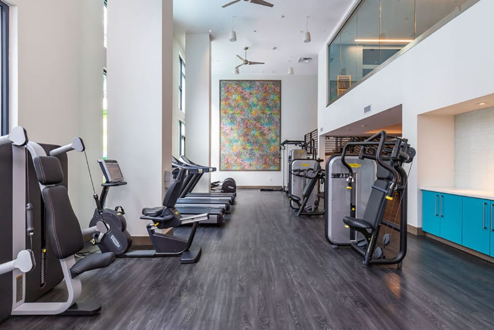 Fitness center for residents to workout in at Central Station on Orange in Orlando, Florida