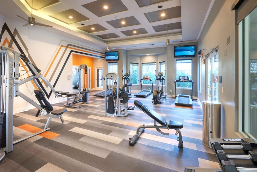 Clean, modern community gym at Legend Oaks Apartments in Aurora, Colorado