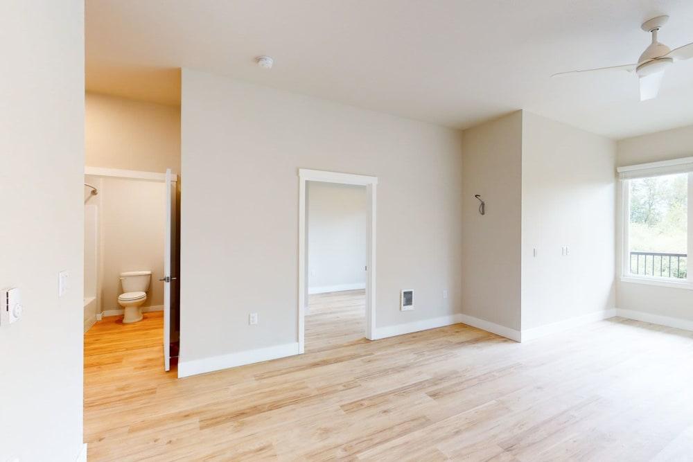 Bright living area at Brookside Apartments in Gresham, Oregon