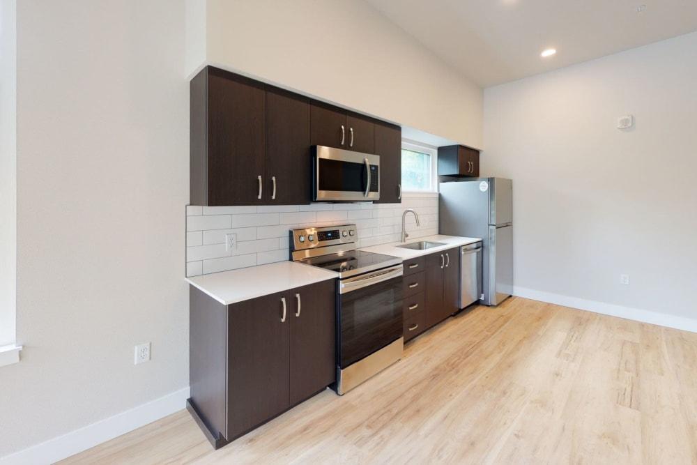 Modern kitchen at Brookside Apartments in Gresham, Oregon