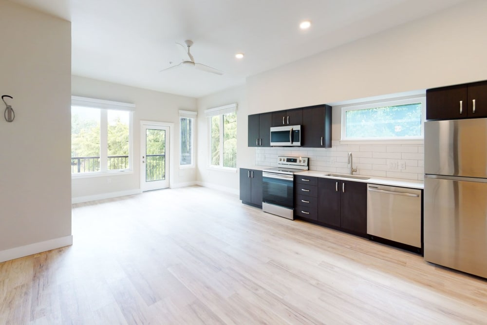 Bright and open kitchen at Brookside Apartments in Gresham, Oregon