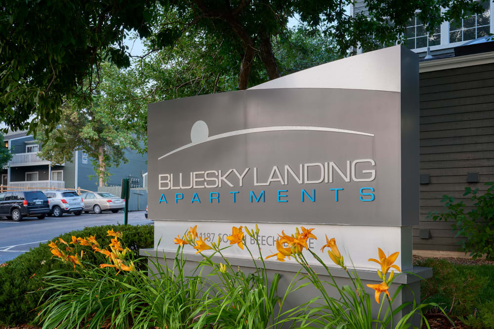 The front sign at Bluesky Landing Apartments in Lakewood, Colorado