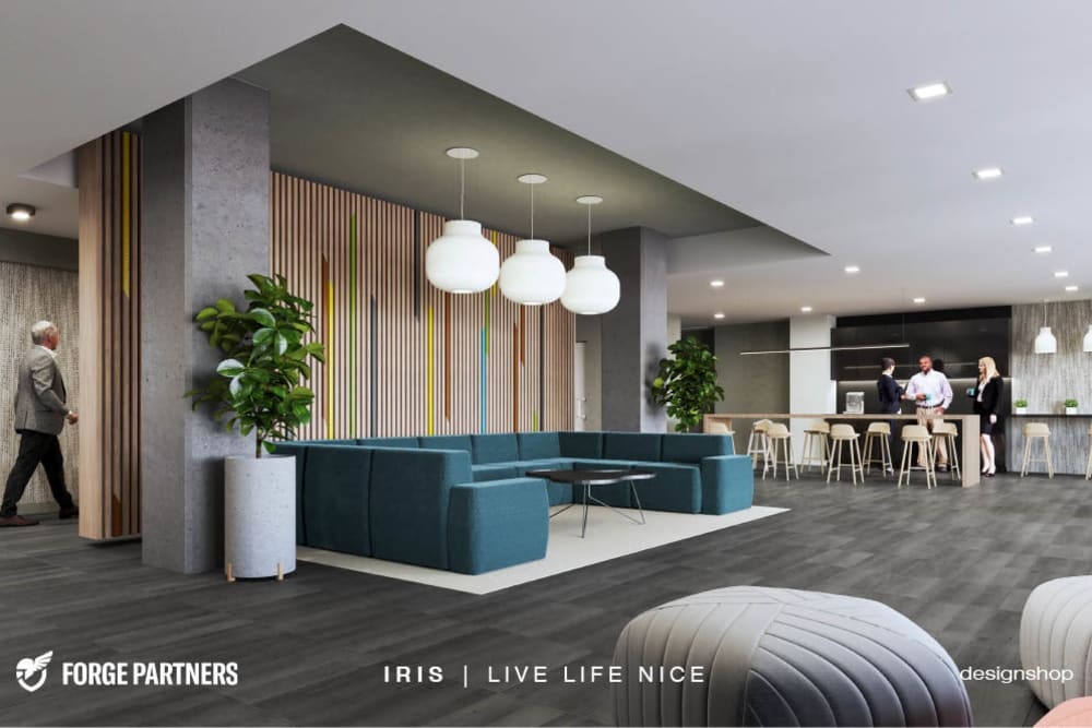 Modern lobby and lounge area at Iris Apartments in Memphis, Tennessee