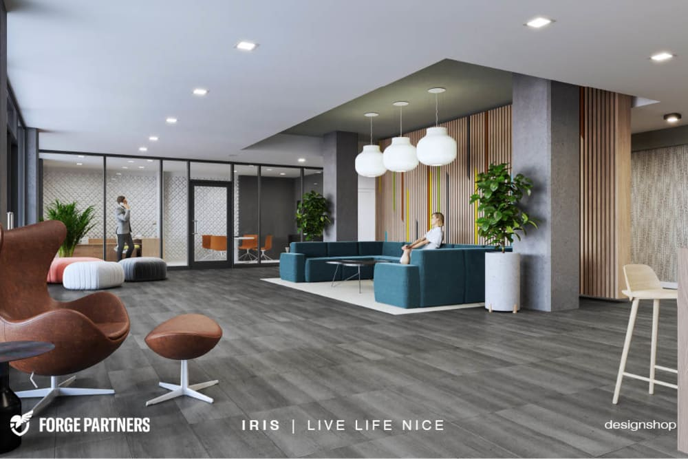 Lounging area at Iris Apartments in Memphis, Tennessee