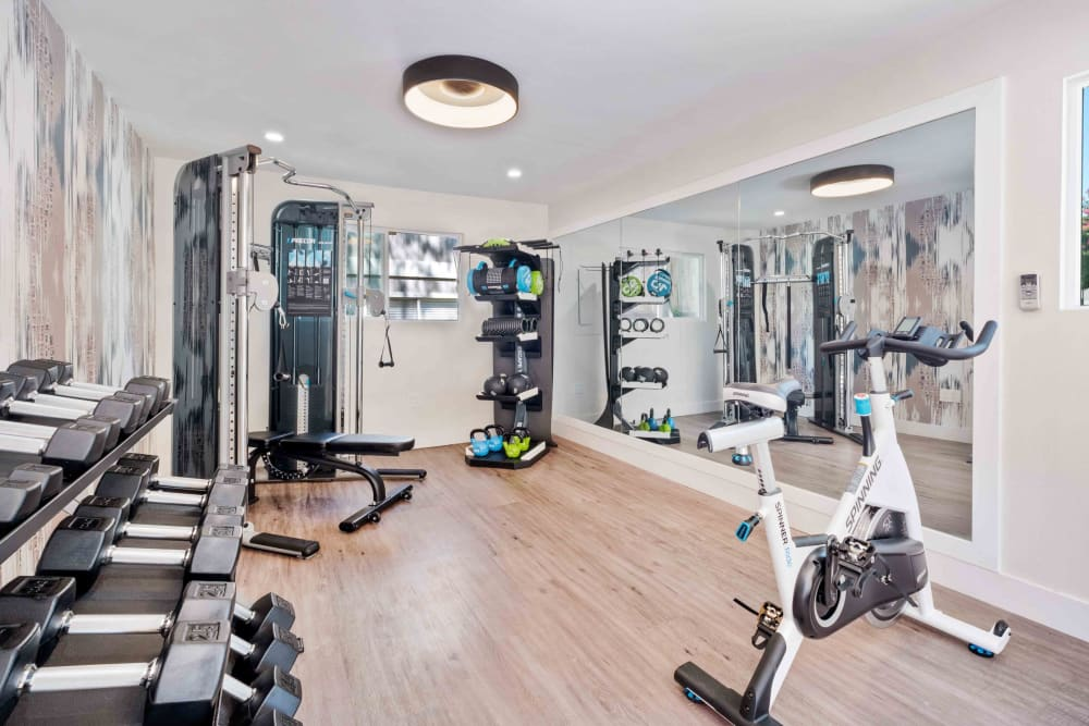 Fitness center with free weights, a cable machine, and a stationary bike at Haven Martinez in Martinez, California