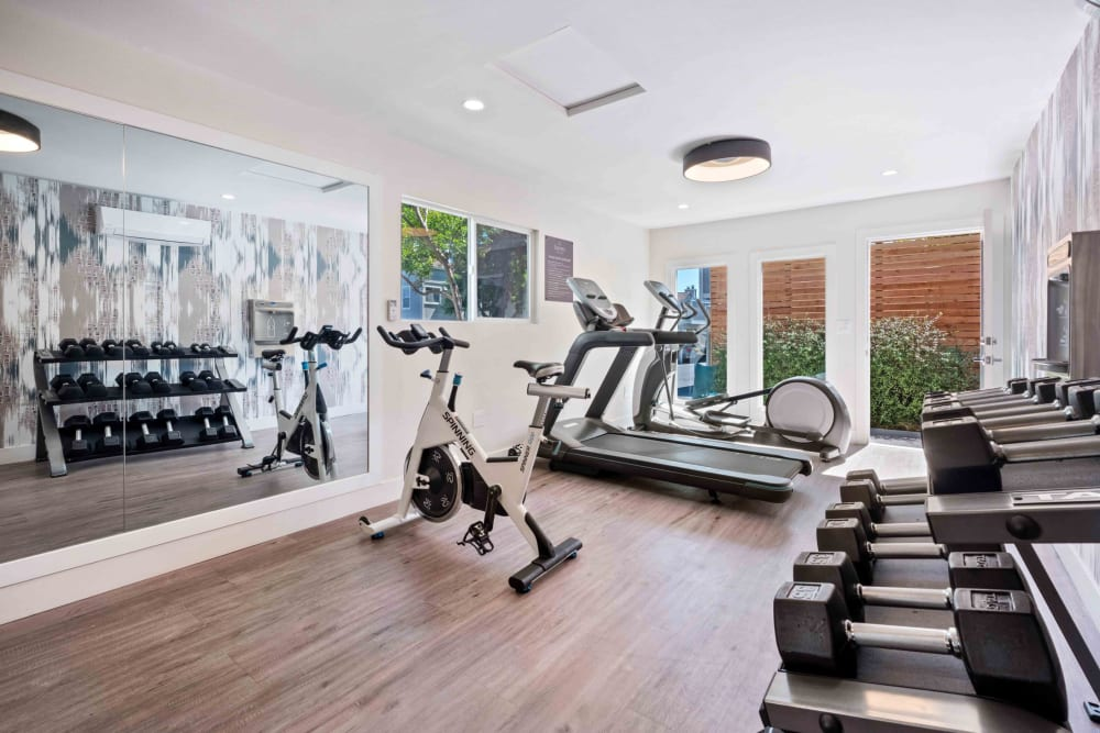 Fitness center with cardio machines next to a large window at Haven Martinez in Martinez, California
