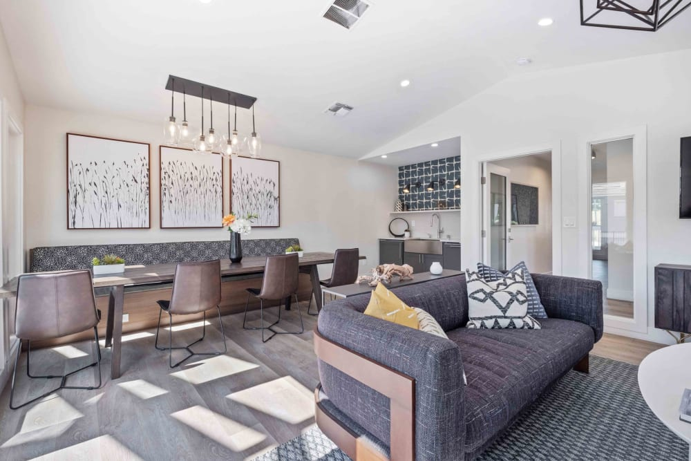 Spacious clubhouse with comfortable seating at Haven Martinez in Martinez, California