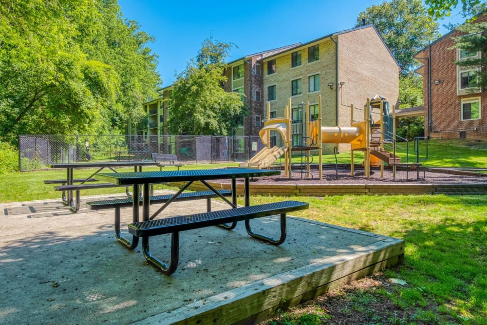 Picnic area & playground view at The Timbers at Long Reach Apartments in Columbia , Maryland