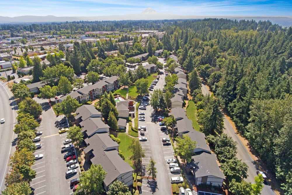 Aerial view of our lushly landscaped community at Haven Apartment Homes in Kent, Washington