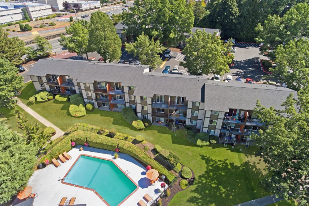 Low aerial view of the mature trees and lush landscaping throughout the community at Haven Apartment Homes in Kent, Washington