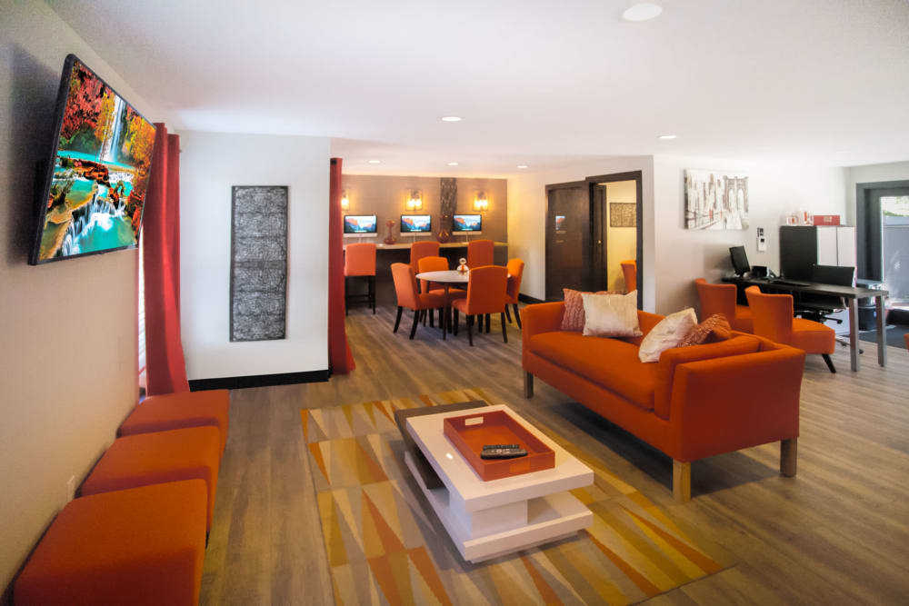 Leasing office interior with lounge area at Haven Apartment Homes in Kent, Washington