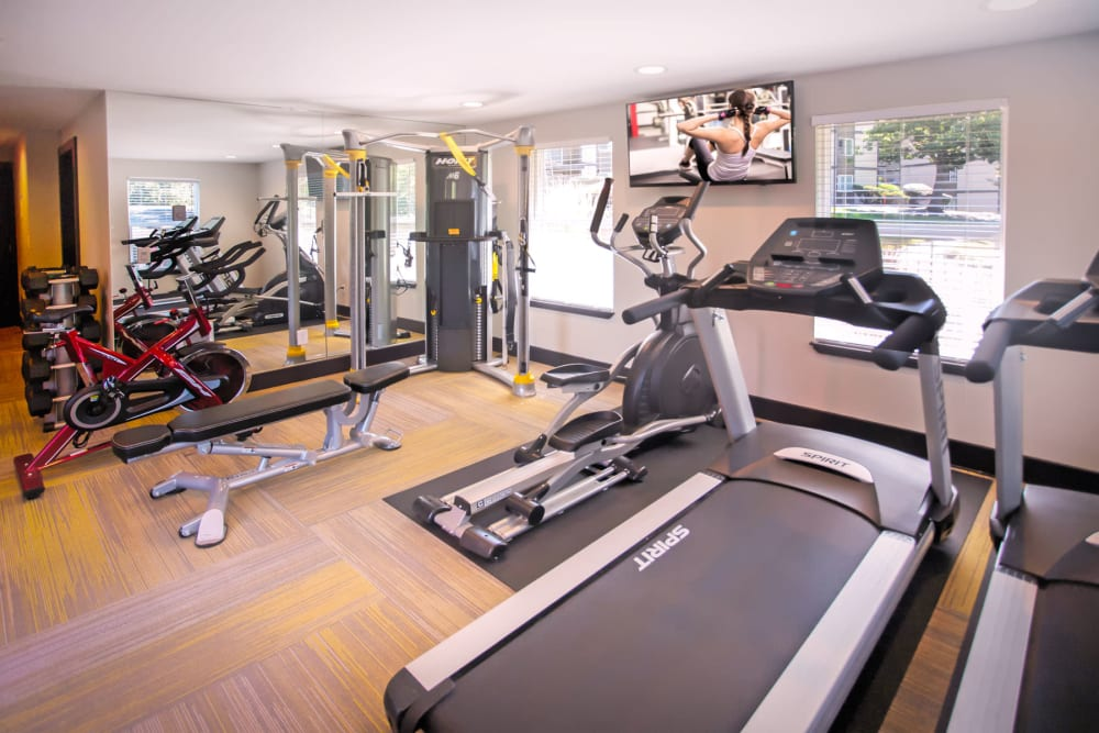 Treadmills in the fitness center at Haven Apartment Homes in Kent, Washington