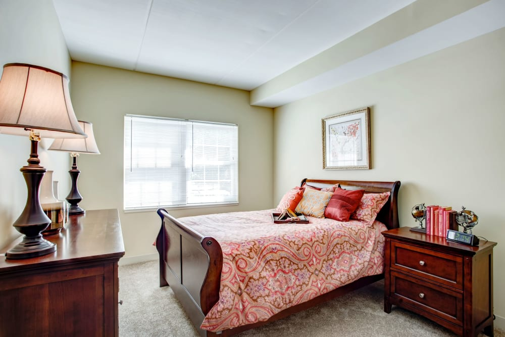 Bedroom in a senior apartment at Hanover Place in Tinley Park, Illinois