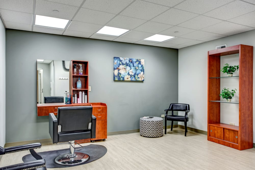 On-site hair salon for residents at Hanover Place in Tinley Park, Illinois